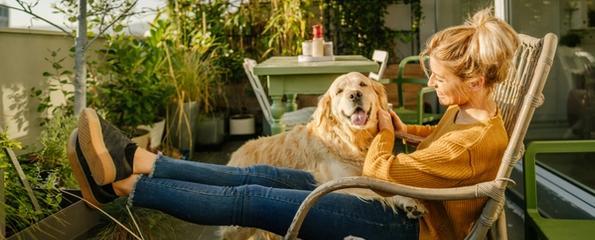 Dame med hund på fanget på en frodig balkong